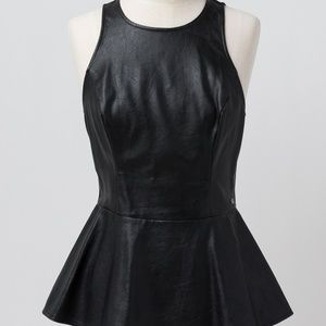 Guess Leather Front Peplum Top-Size S